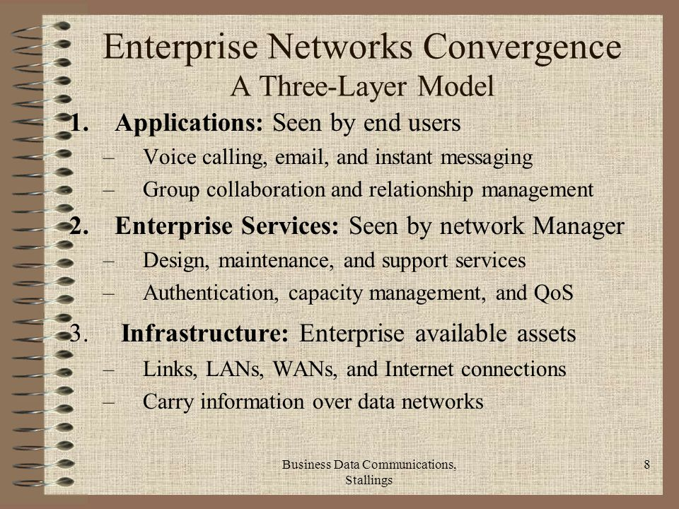 Business Data Communications, Stallings 8 Enterprise Networks Convergence A Three-Layer Model 1.Applications: Seen by end users –Voice calling,  , and instant messaging –Group collaboration and relationship management 2.Enterprise Services: Seen by network Manager –Design, maintenance, and support services –Authentication, capacity management, and QoS 3.