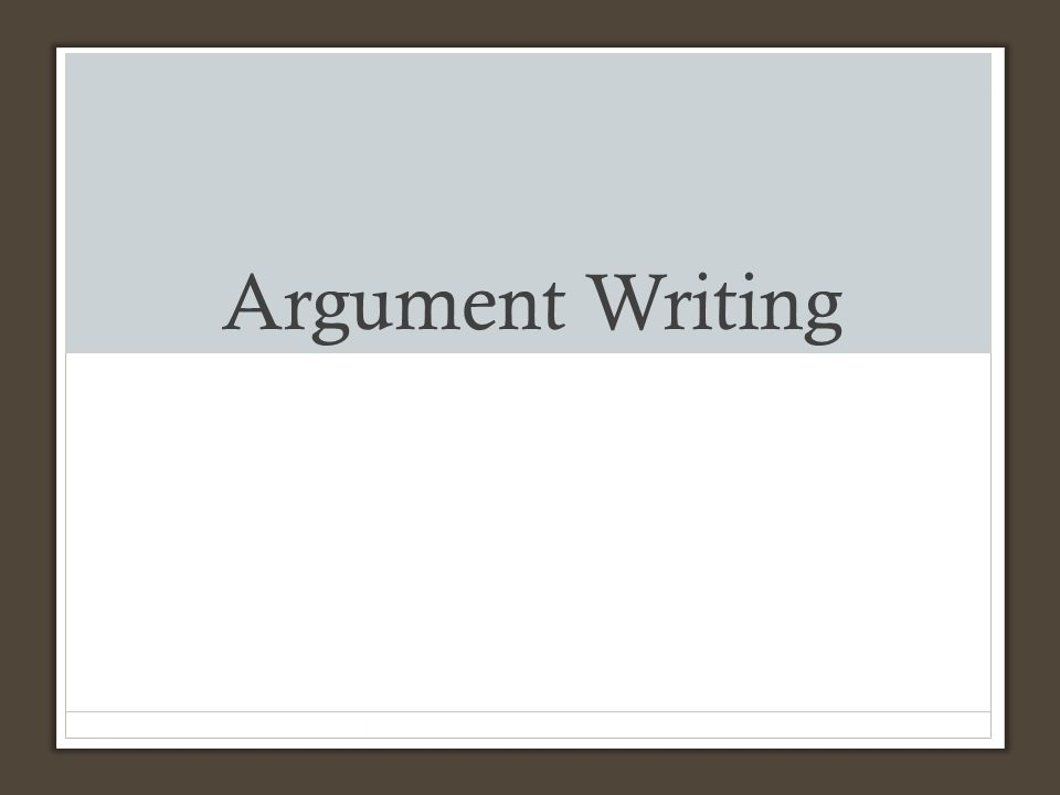 argument in writing