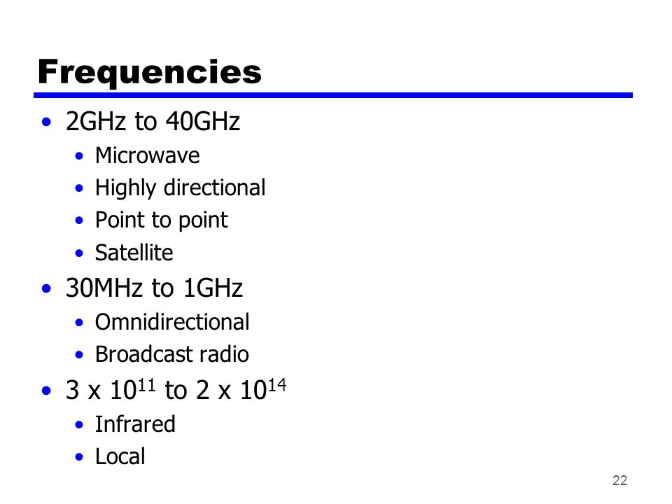 22 Frequencies 2GHz to 40GHz Microwave Highly directional Point to point Satellite 30MHz to 1GHz Omnidirectional Broadcast radio 3 x to 2 x Infrared Local