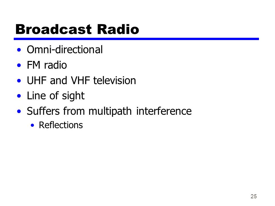 25 Broadcast Radio Omni-directional FM radio UHF and VHF television Line of sight Suffers from multipath interference Reflections