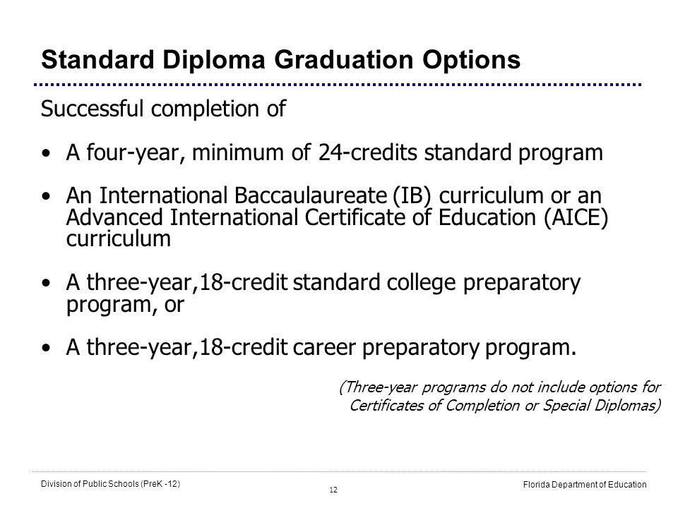 18 credit graduation requirements florida
