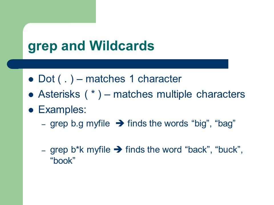 grep and Wildcards Dot (.