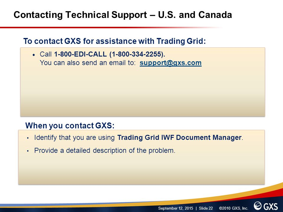 September 12, 2015 | Slide 22 ©2010 GXS, Inc. Contacting Technical Support – U.S.
