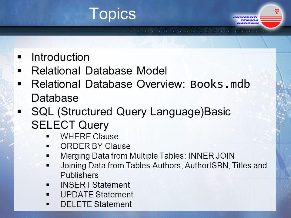 Chapter 7 Database Sql Mysql Topics Introduction Relational