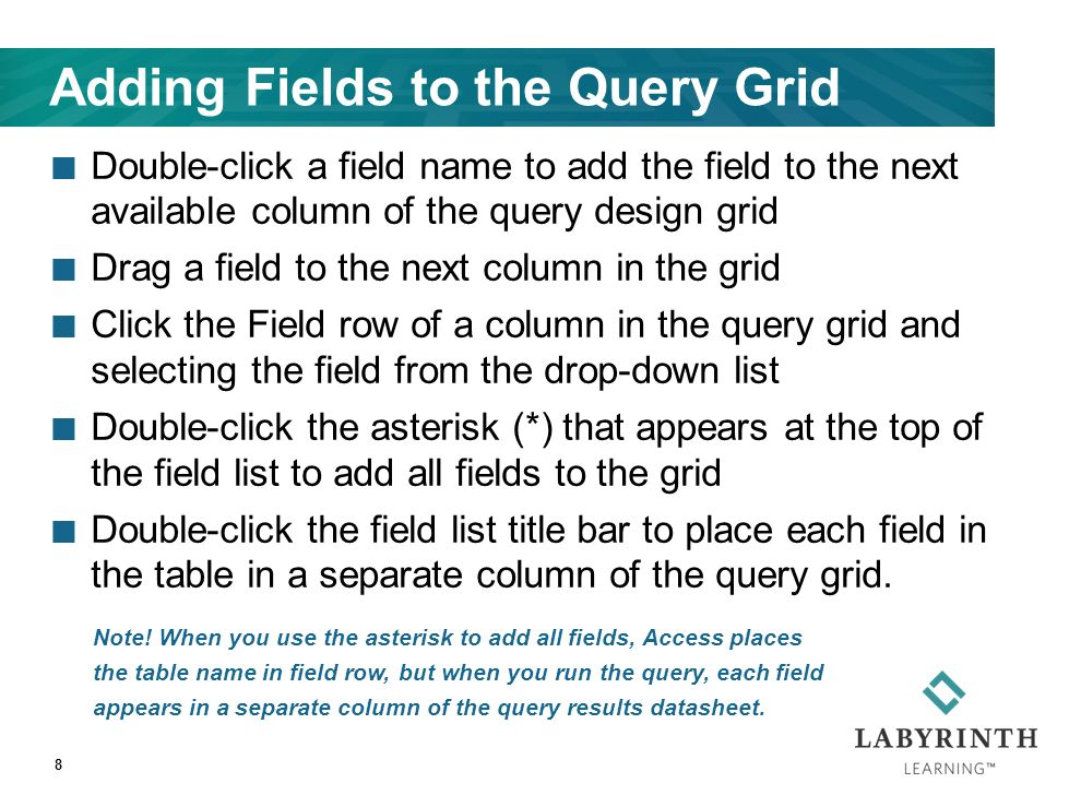 Adding Fields to the Query Grid Double-click a field name to add the field to the next available column of the query design grid Drag a field to the next column in the grid Click the Field row of a column in the query grid and selecting the field from the drop-down list Double-click the asterisk (*) that appears at the top of the field list to add all fields to the grid Double-click the field list title bar to place each field in the table in a separate column of the query grid.