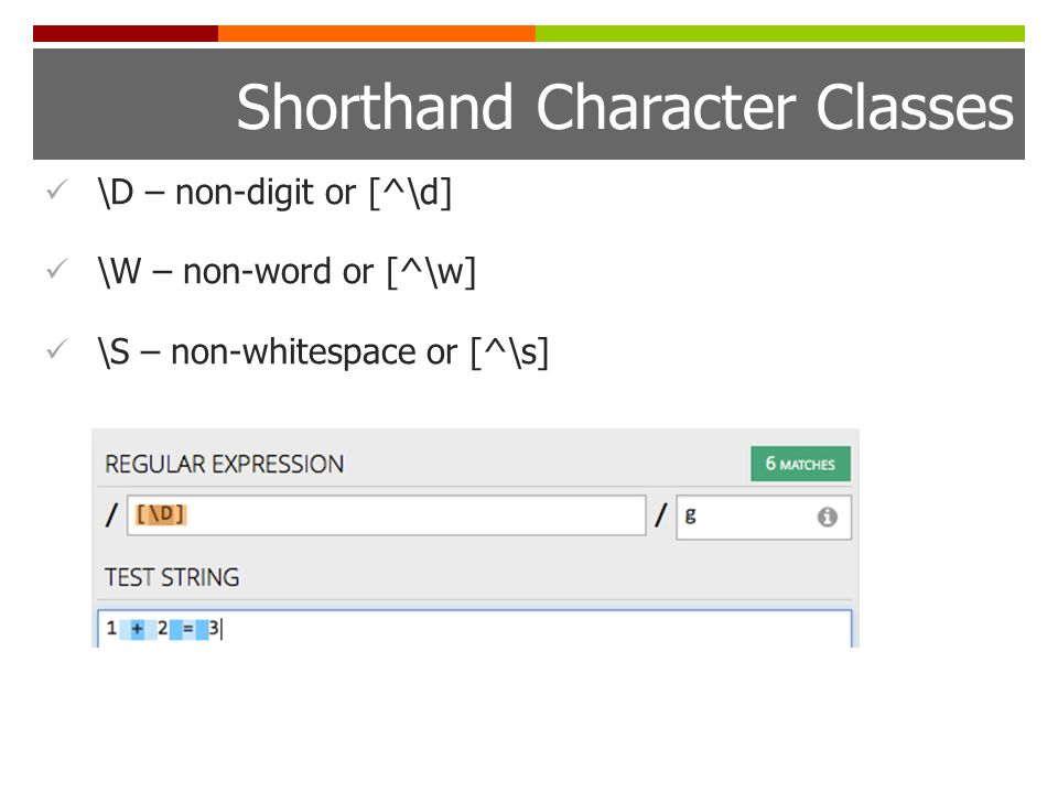 Shorthand Character Classes \D – non-digit or [^\d] \W – non-word or [^\w] \S – non-whitespace or [^\s]