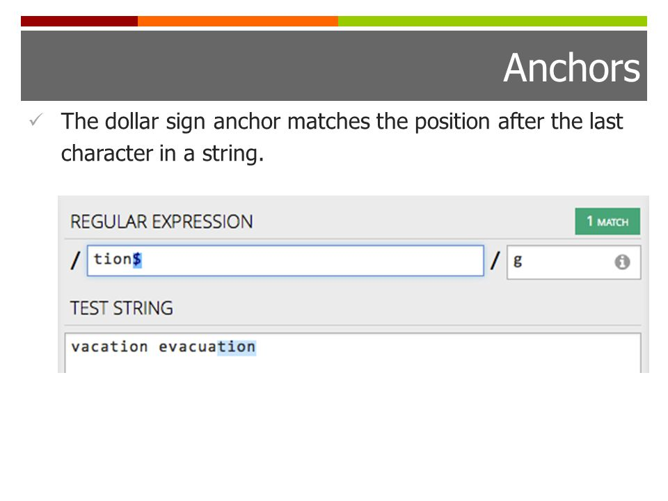 Anchors The dollar sign anchor matches the position after the last character in a string.