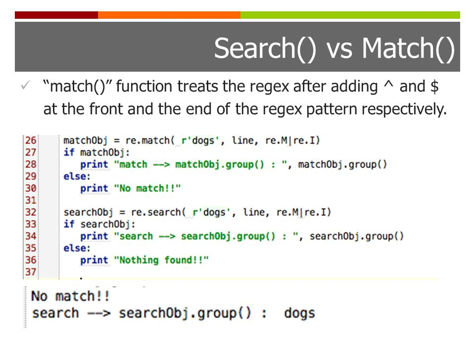 Search() vs Match() match() function treats the regex after adding ^ and $ at the front and the end of the regex pattern respectively.