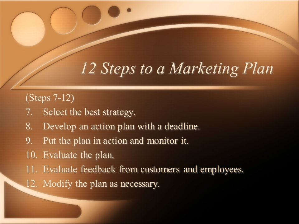 12 Steps to a Marketing Plan (Steps 1-6) Gather information 1.Establish objectives for the operation.
