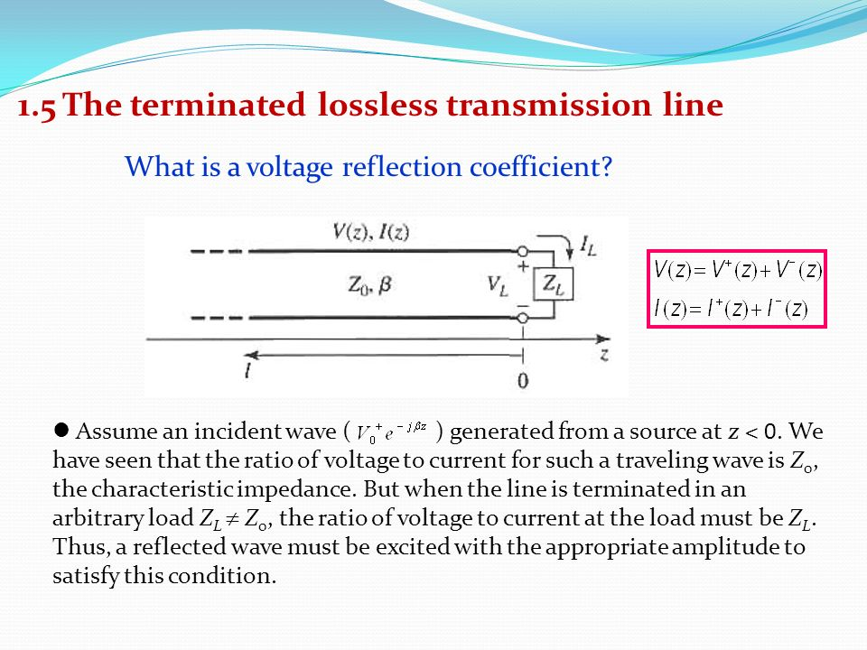 Lecture 4   1 5 The terminated lossless transmission line