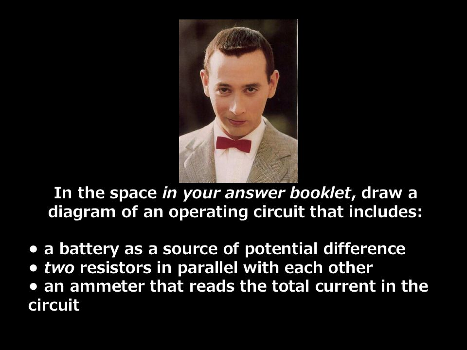 In the space in your answer booklet, draw a diagram of an operating circuit that includes: a battery as a source of potential difference two resistors in parallel with each other an ammeter that reads the total current in the circuit