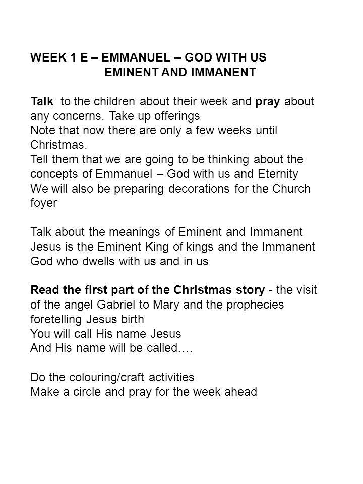 EMMANUEL Children's Church Program  EMMANUEL – GOD WITH US E