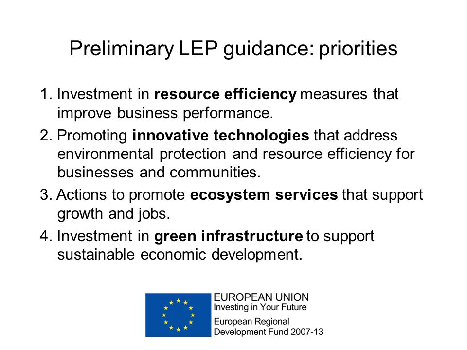 Preliminary LEP guidance: priorities 1.