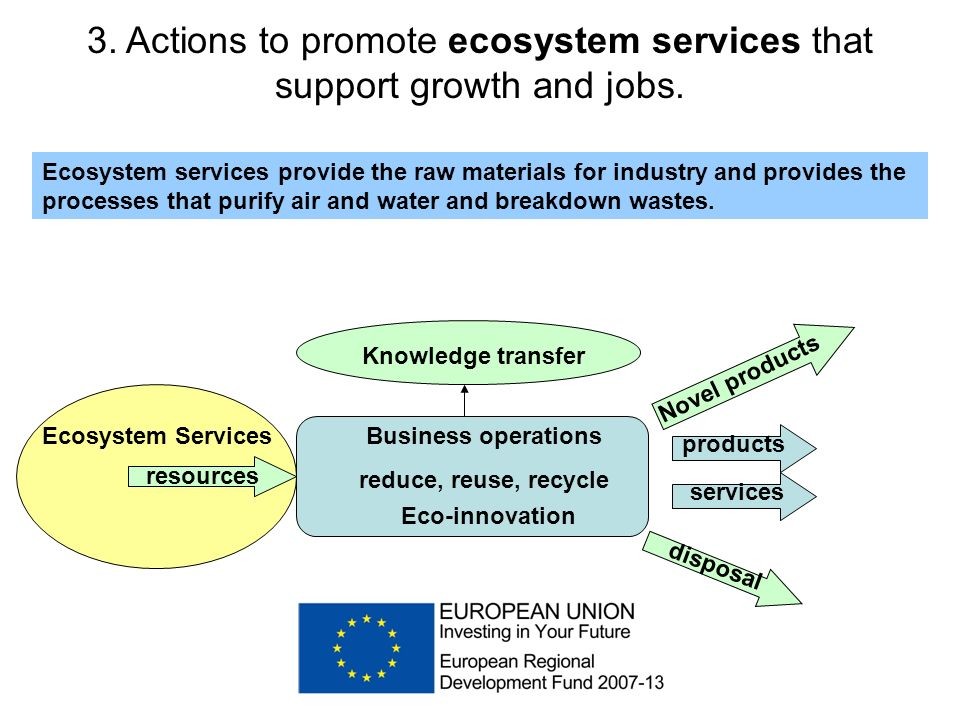 3. Actions to promote ecosystem services that support growth and jobs.