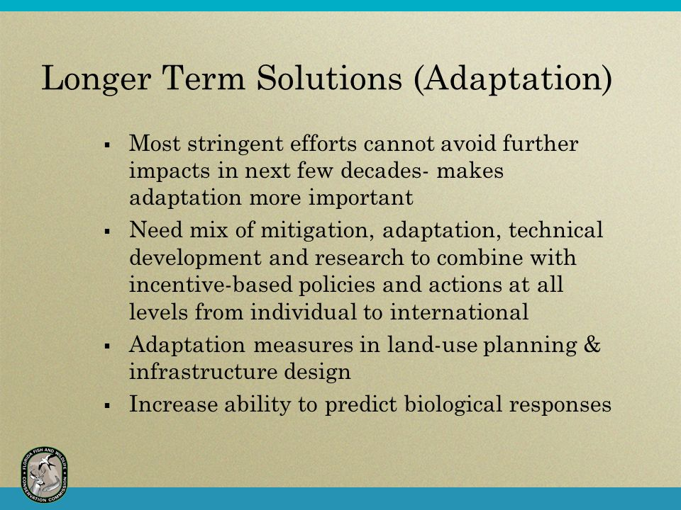 Longer Term Solutions (Adaptation)  Most stringent efforts cannot avoid further impacts in next few decades- makes adaptation more important  Need mix of mitigation, adaptation, technical development and research to combine with incentive-based policies and actions at all levels from individual to international  Adaptation measures in land-use planning & infrastructure design  Increase ability to predict biological responses