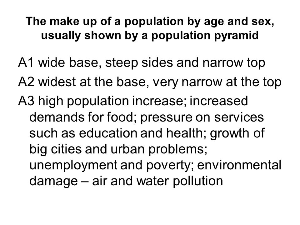 The make up of a population by age and sex, usually shown by a population pyramid A1 wide base, steep sides and narrow top A2 widest at the base, very narrow at the top A3 high population increase; increased demands for food; pressure on services such as education and health; growth of big cities and urban problems; unemployment and poverty; environmental damage – air and water pollution