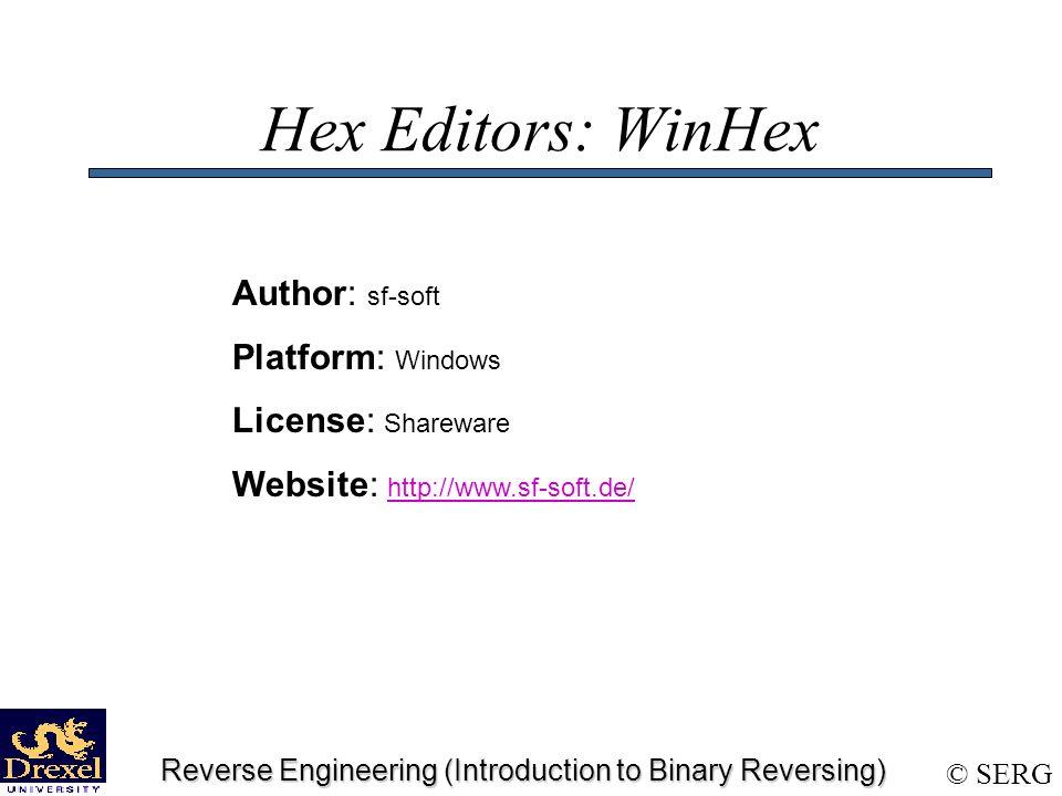 SERG Reverse Engineering (Introduction to Binary Reversing