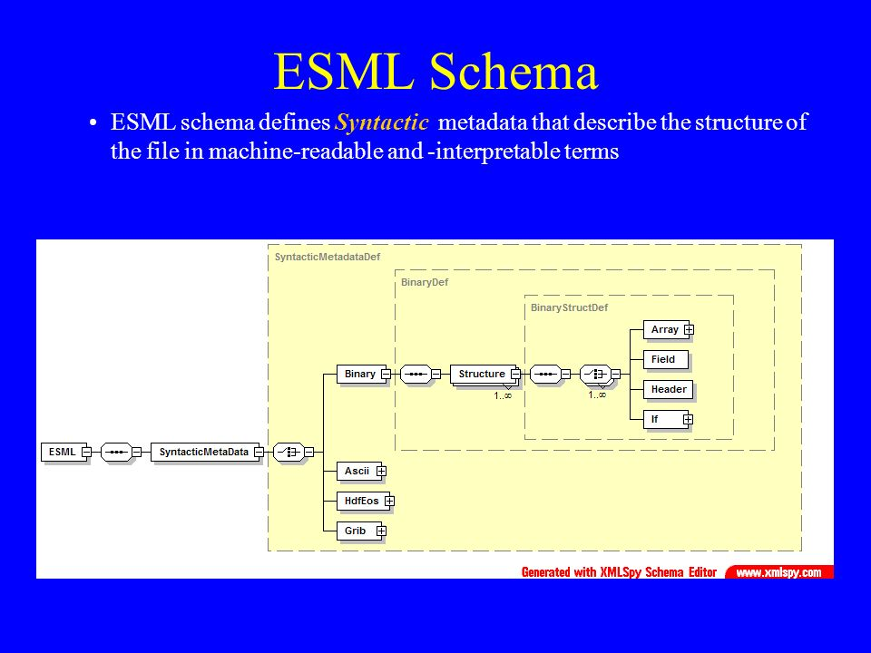 ESML Schema ESML schema defines Syntactic metadata that describe the structure of the file in machine-readable and -interpretable terms