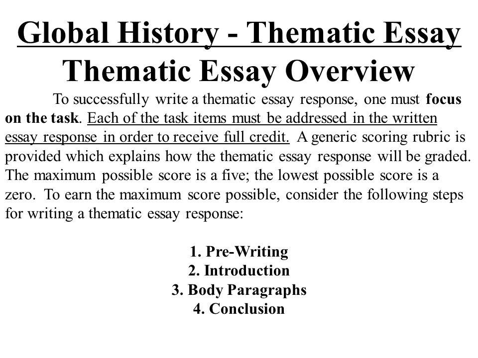 Thematic Essay Generic Scoring Rubric