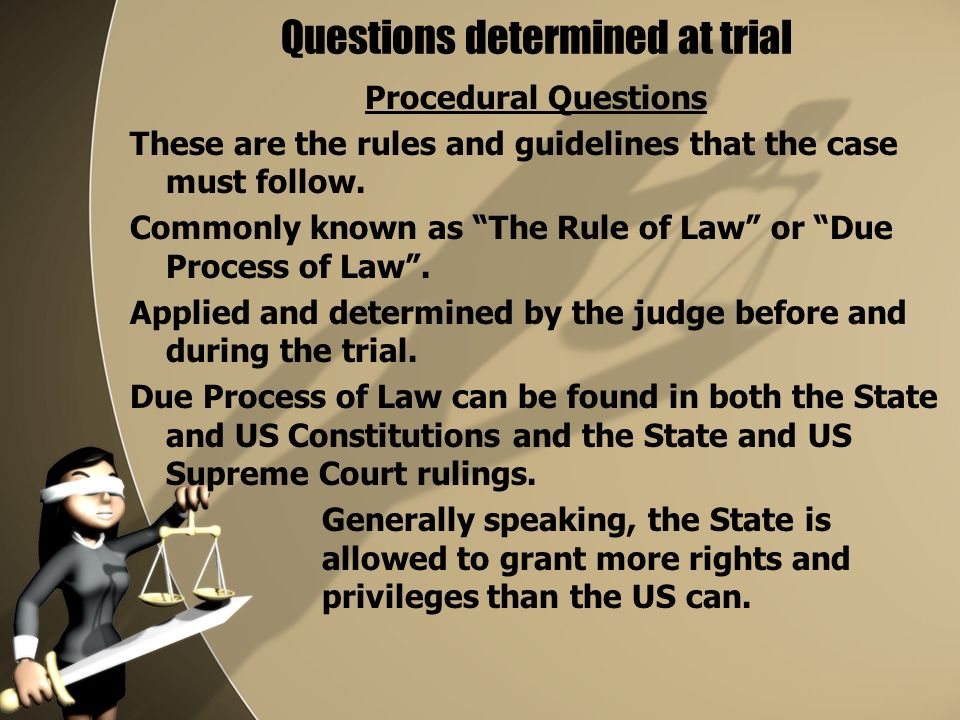 Questions determined at trial Procedural Questions These are the rules and guidelines that the case must follow.