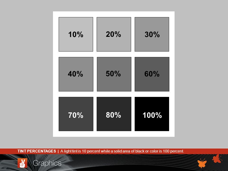 TINT PERCENTAGES | A light tint is 10 percent while a solid area of black or color is 100 percent.