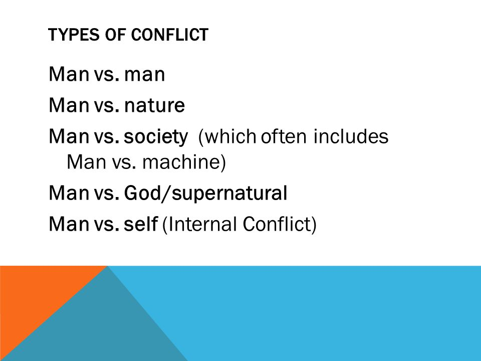 TYPES OF CONFLICT Man vs. man Man vs. nature Man vs.