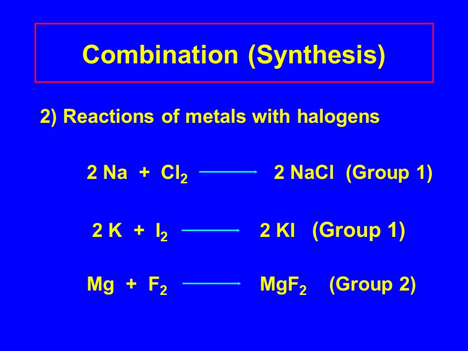 Combination (Synthesis) 2) Reactions of metals with halogens 2 Na + Cl 2 2 NaCl (Group 1) 2 K + I 2 2 KI (Group 1) Mg + F 2 MgF 2 (Group 2)
