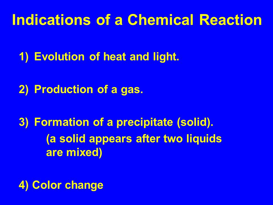 Indications of a Chemical Reaction 1)Evolution of heat and light.