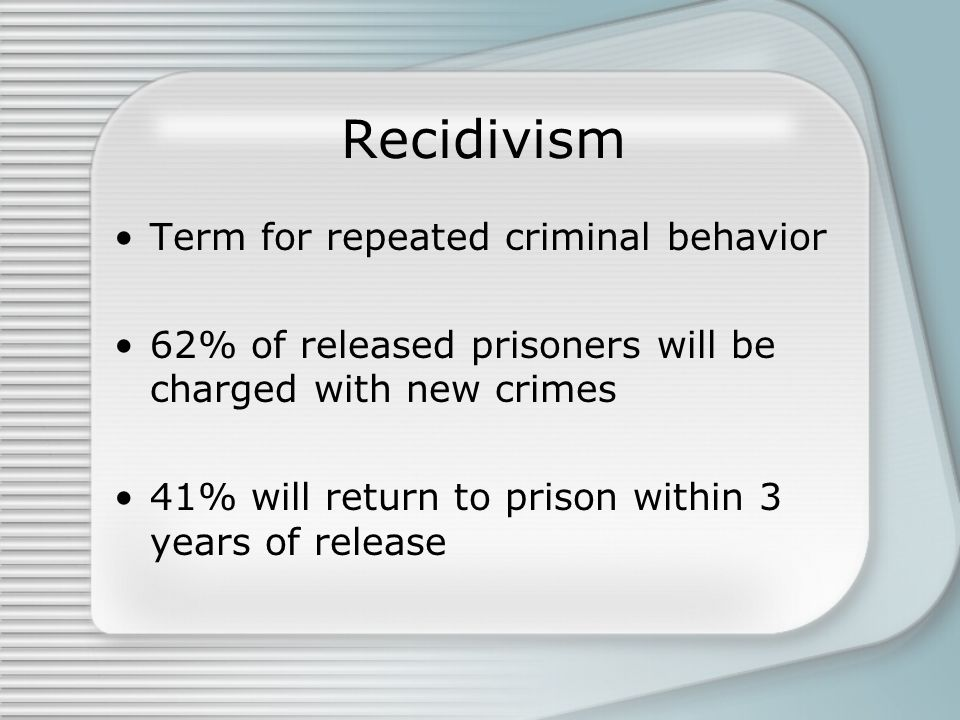 Recidivism Term for repeated criminal behavior 62% of released prisoners will be charged with new crimes 41% will return to prison within 3 years of release