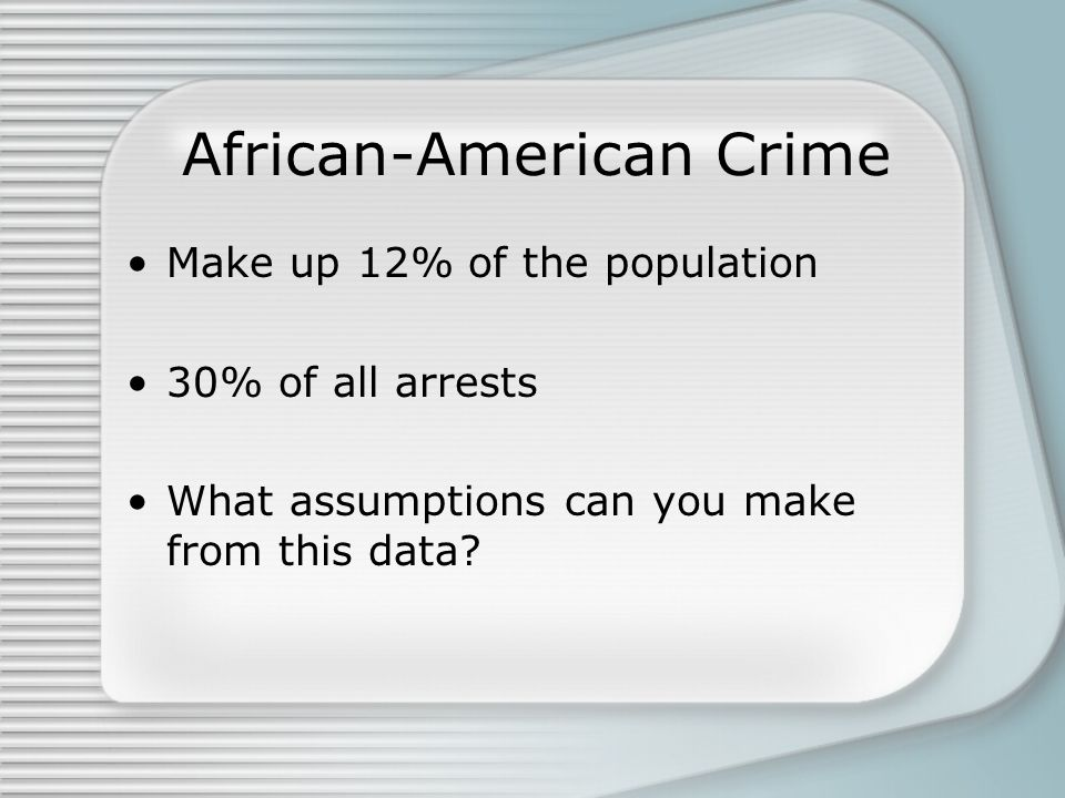 African-American Crime Make up 12% of the population 30% of all arrests What assumptions can you make from this data