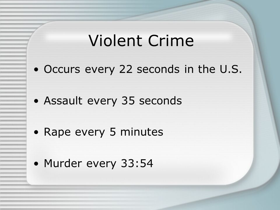 Violent Crime Occurs every 22 seconds in the U.S.
