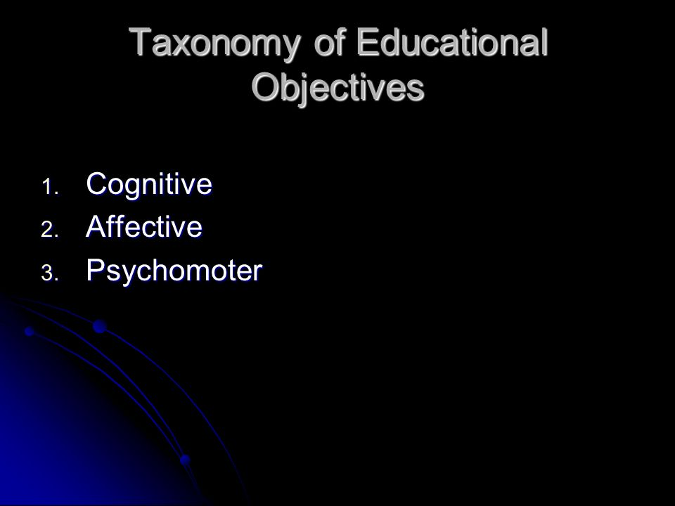 Taxonomy of Educational Objectives 1. Cognitive 2. Affective 3. Psychomoter