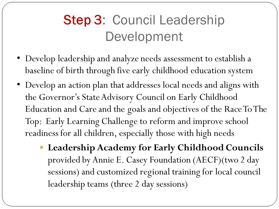 Step 3: Council Leadership Development Develop leadership and analyze needs assessment to establish a baseline of birth through five early childhood education system Develop an action plan that addresses local needs and aligns with the Governor's State Advisory Council on Early Childhood Education and Care and the goals and objectives of the Race To The Top: Early Learning Challenge to reform and improve school readiness for all children, especially those with high needs Leadership Academy for Early Childhood Councils provided by Annie E.