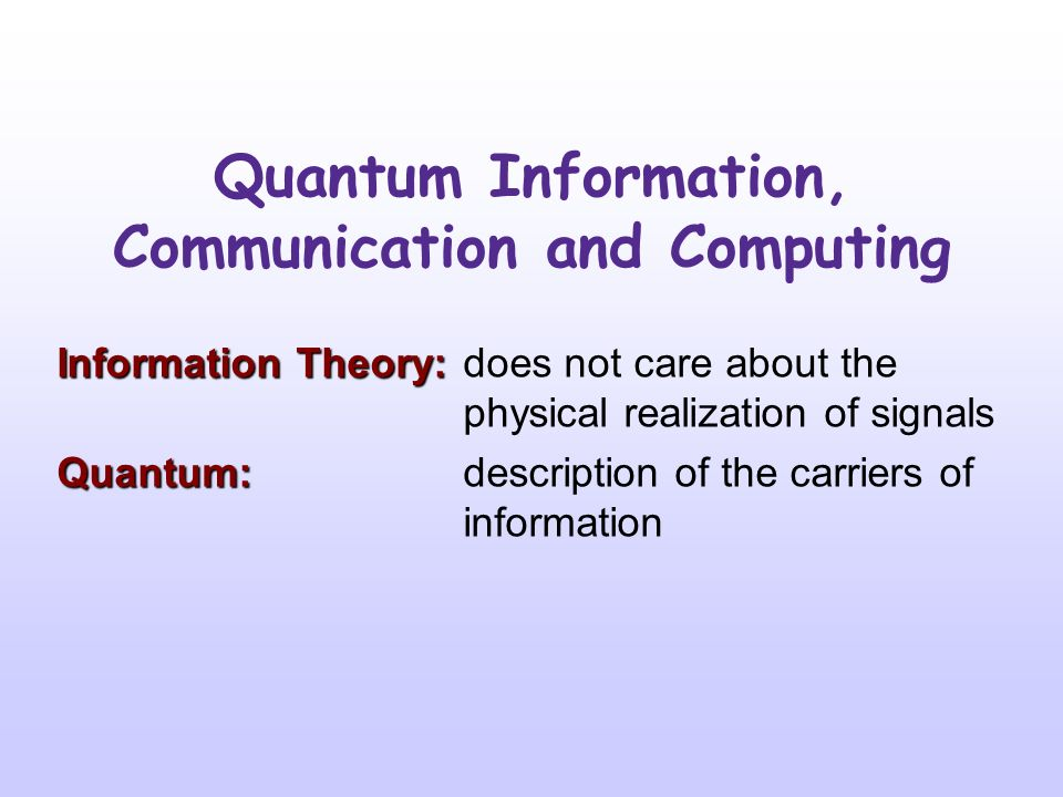 Quantum Information, Communication and Computing Jan Kříž