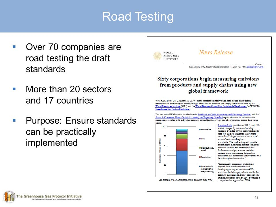 16  Over 70 companies are road testing the draft standards  More than 20 sectors and 17 countries  Purpose: Ensure standards can be practically implemented Road Testing 16
