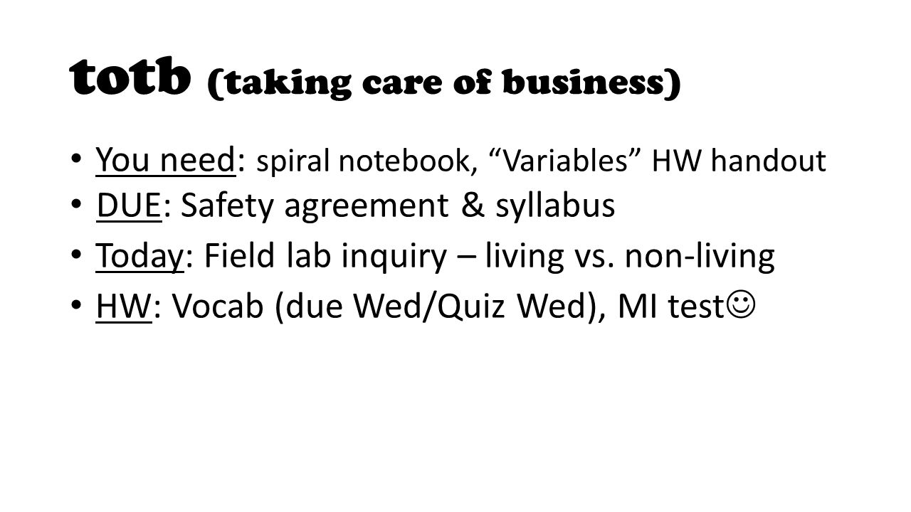 Totb Taking Care Of Business You Need Spiral Notebook Variables
