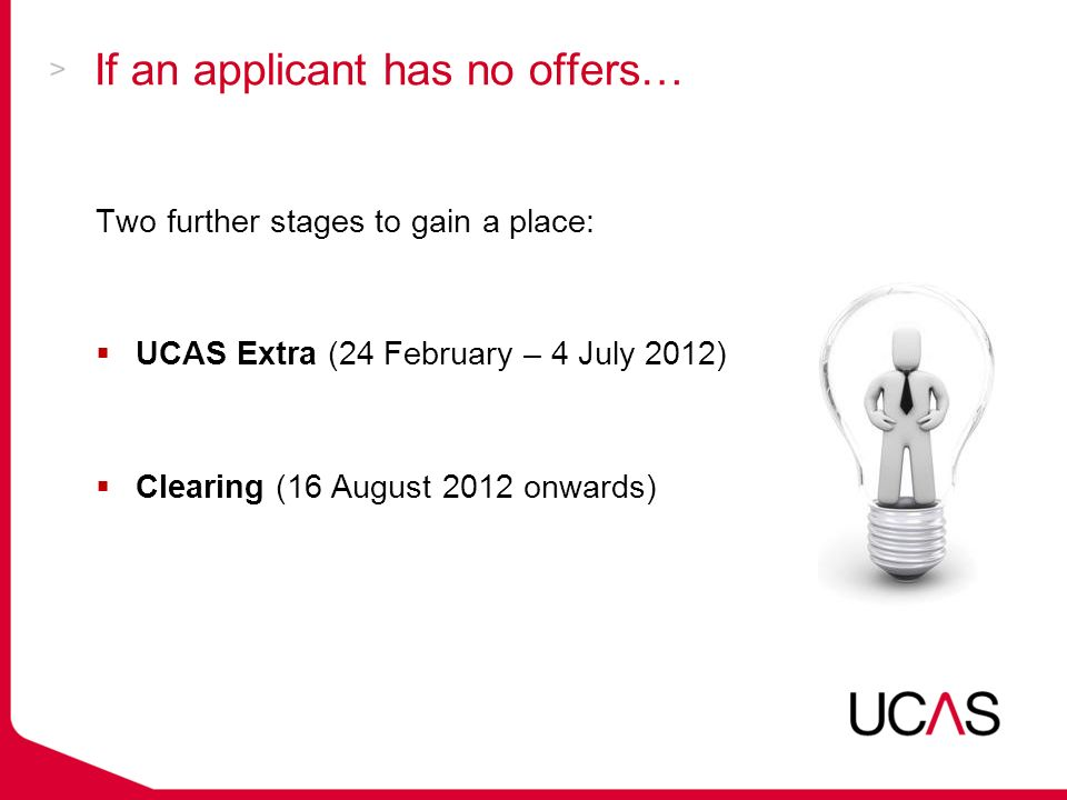 If an applicant has no offers… Two further stages to gain a place:  UCAS Extra (24 February – 4 July 2012)  Clearing (16 August 2012 onwards)