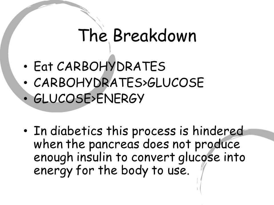 The Breakdown Eat CARBOHYDRATES CARBOHYDRATES>GLUCOSE GLUCOSE>ENERGY In diabetics this process is hindered when the pancreas does not produce enough insulin to convert glucose into energy for the body to use.