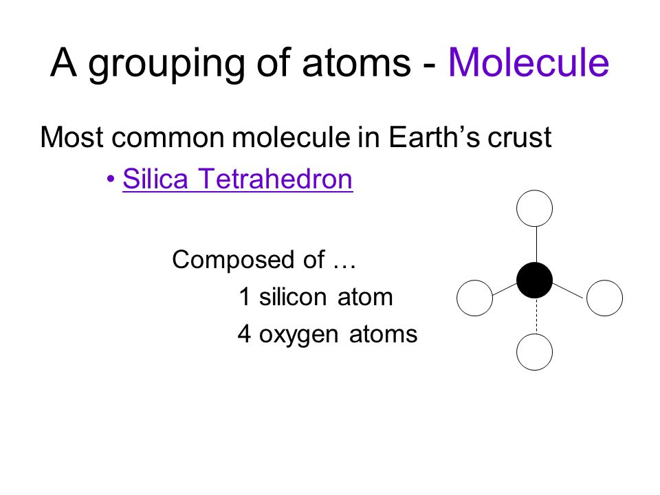 A grouping of atoms - Molecule Most common molecule in Earth's crust Silica Tetrahedron Composed of … 1 silicon atom 4 oxygen atoms