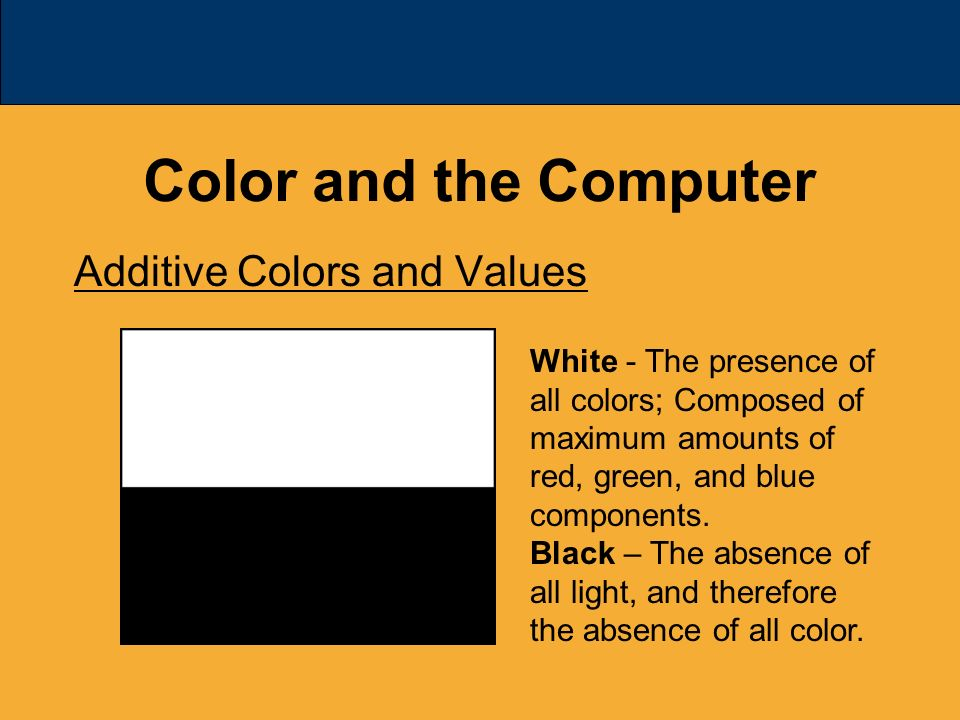 43 Color And The Computer Additive Colors Values White Presence Of All