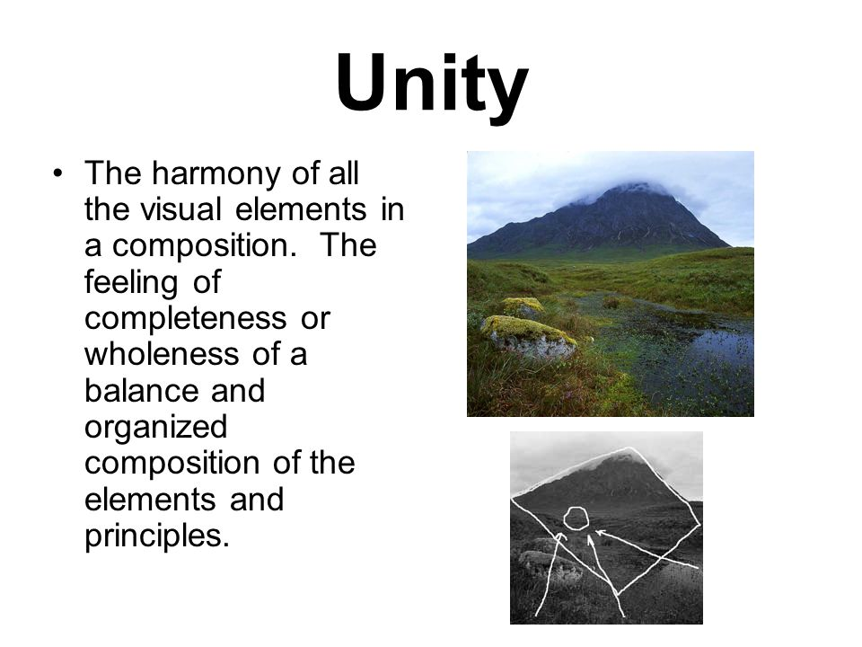 Unity The harmony of all the visual elements in a composition.