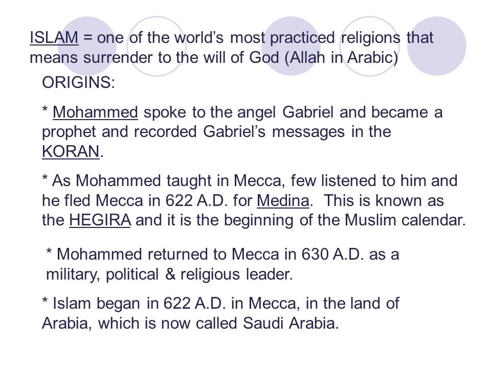 ISLAM = one of the world's most practiced religions that means surrender to the will of God (Allah in Arabic) ORIGINS: * Mohammed spoke to the angel Gabriel and became a prophet and recorded Gabriel's messages in the KORAN.