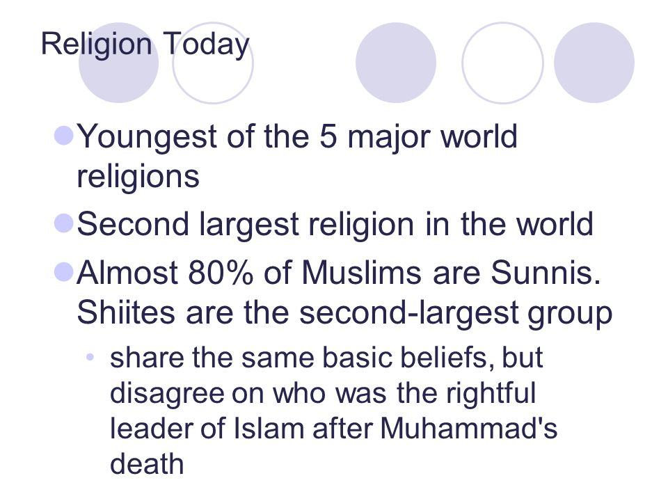 Youngest of the 5 major world religions Second largest religion in the world Almost 80% of Muslims are Sunnis.