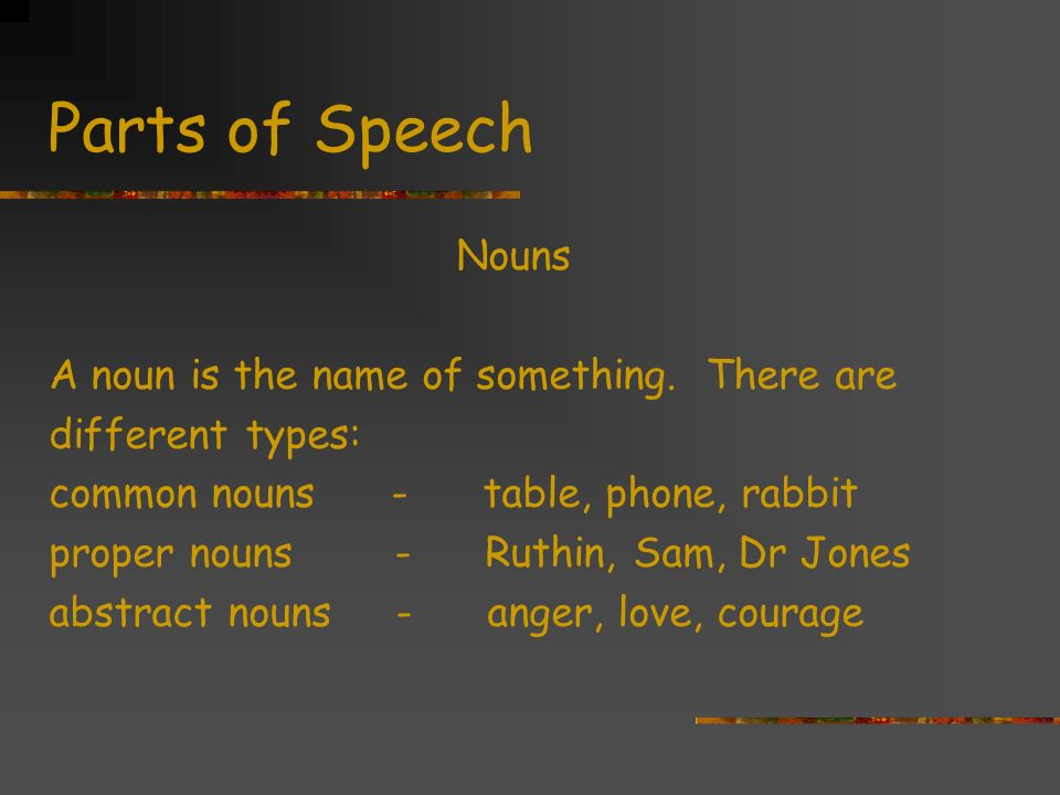 Parts of Speech Nouns A noun is the name of something.