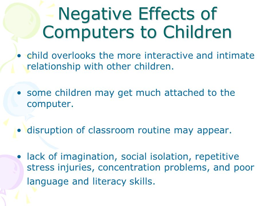negative effects of a computer