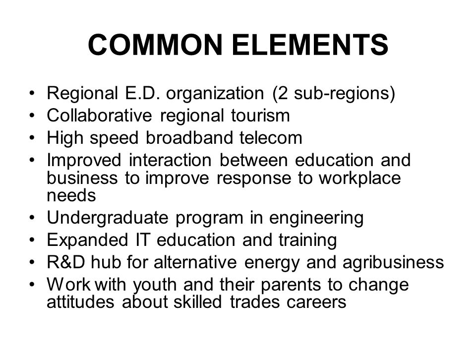COMMON ELEMENTS Regional E.D.