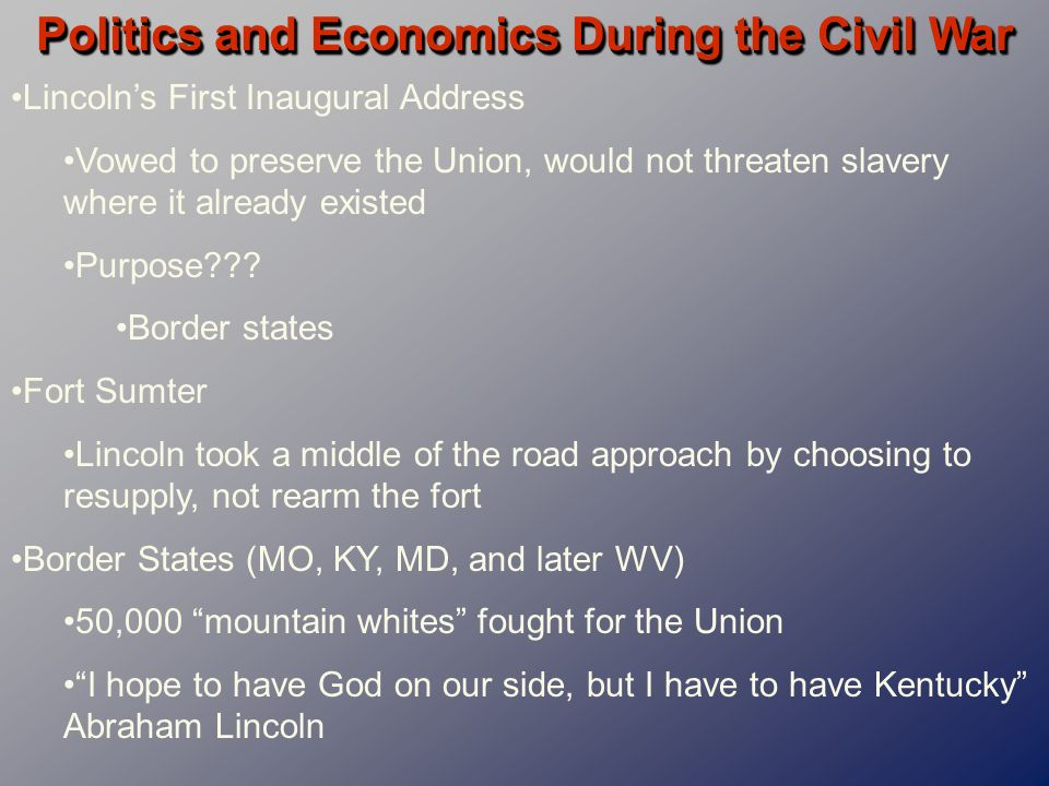 slavery and political factors An exhaustive list of american political factors during the 1860s would fill volumes the civil war (1861-1865) was an intensely complex political period in american history, politics that were not limited to war conflict within and between political parties raged on, the business of running the.