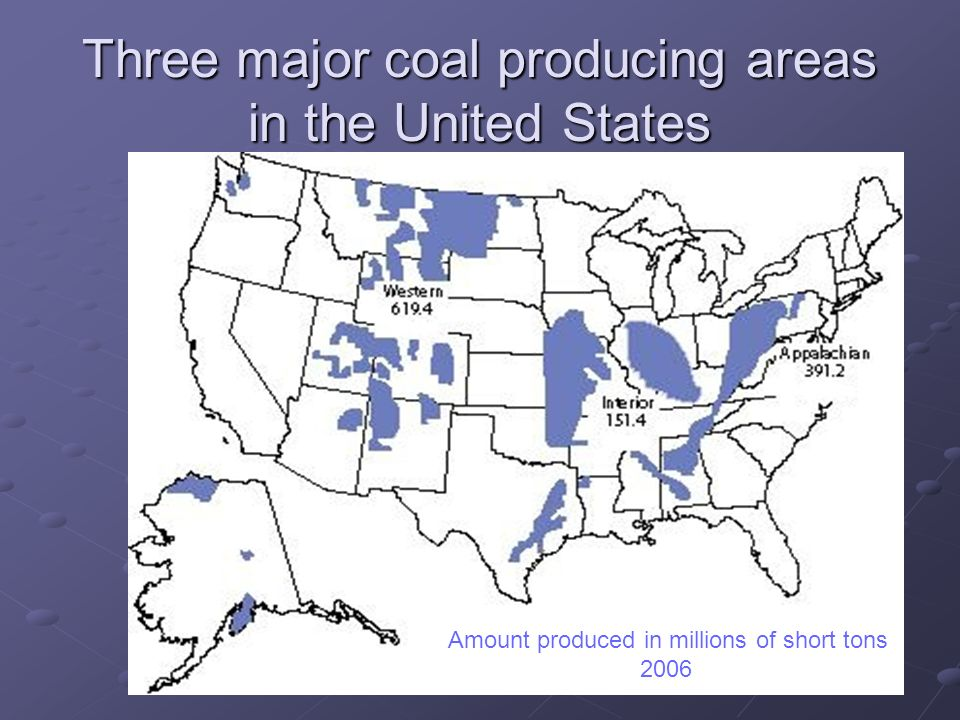 Three major coal producing areas in the United States Millions of Short Tons Amount produced in millions of short tons 2006