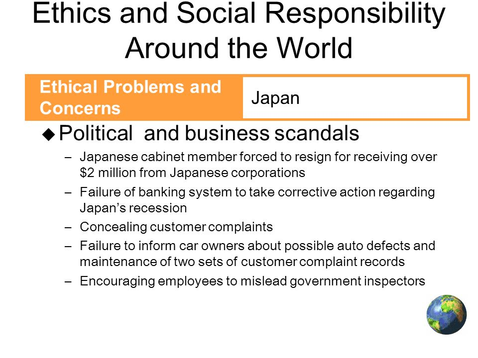 ethical problems and issues of social responsibility are