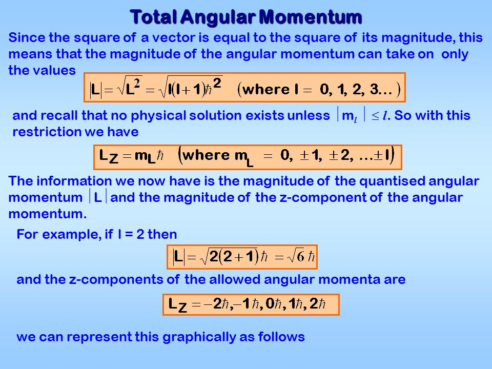 Total Angular Momentum Since the square of a vector is equal to the square of its magnitude, this means that the magnitude of the angular momentum can take on only the values and recall that no physical solution exists unless  m l   l.